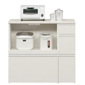 その他 キッチンカウンター 幅100cm 二口コンセント/スライドテーブル/引き出し付き 日本製 ホワイト(白) 【完成品】【玄関渡し】 ds-1753455