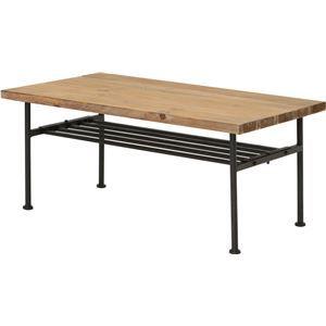 その他 センターテーブル(ローテーブル/リビングテーブル) JOKER 幅90cm 木製/杉古材×スチール 収納棚付き 木目調 ds-1806892