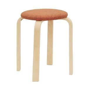 その他 スタッキングスツール/丸椅子 【同色5脚セット】 座面:ファブリック布地 木製脚 OR オレンジ 【完成品】 ds-1806973