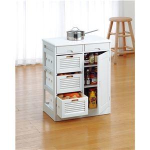その他 天然木野菜収納庫付きキッチンワゴンレギュラー ホワイト ds-1813099