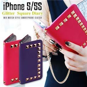 その他 GAZE iPhone5/5s Glitter Square Diary パープル ds-1823214