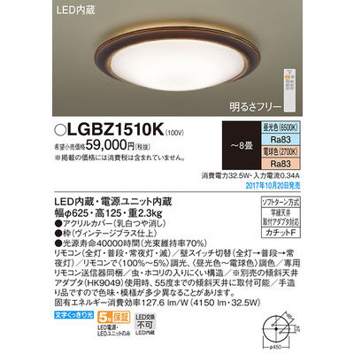 パナソニック シーリングライト LGBZ1510K