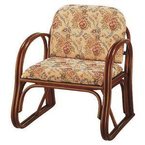 その他 楽々座椅子/パーソナルチェア 【座面高33cm】 肘付き 籐製 座面:ジャガード織り生地使用 【代引不可】 ds-1831911
