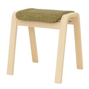 その他 スタッキングスツール/腰掛け椅子 【同色4脚セット】 ファブリック木製脚 グリーン(緑) 【完成品】 ds-1838753
