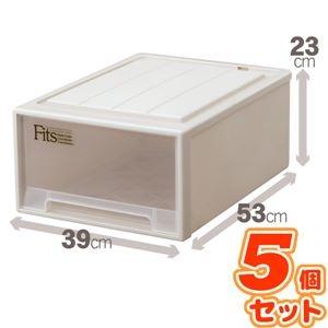 その他 (5個セット) クローゼット収納/衣装ケース 【幅39cm×高さ23cm】 レギュラーサイズ 『Fits フィッツケース』 日本製 ds-1852555