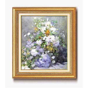 その他 名画額縁/フレームセット 【F10号】 ルノワール 「花瓶の花」 670×595×38mm 壁掛けひも付き金フレーム ds-1897130