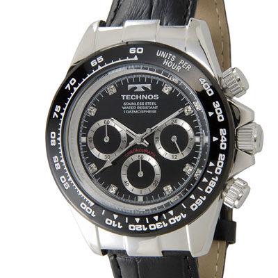 Technos テクノス クロノグラフ 24時間計 10気圧防水 ブラック×シルバー メンズ 腕時計 T4392LT
