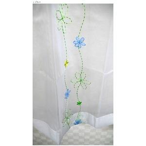 その他 刺繍 花柄 レースカーテン 2枚組 100×198cm ブルー レースカーテン 花柄 パルティ 九装 ds-1925271