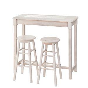 その他 木製カウンターテーブル/コーヒーテーブル 【スツールセット】 幅95cm ホワイト NET-588WH ds-1937444