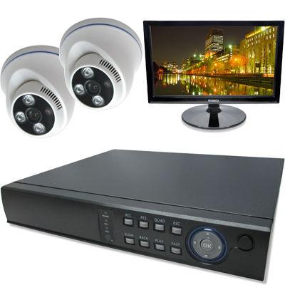 ブロードウォッチ 屋内天井型赤外線200万画素カメラ2台16インチモニタ付録画機セット SEC-MS-2A-F36P-16R
