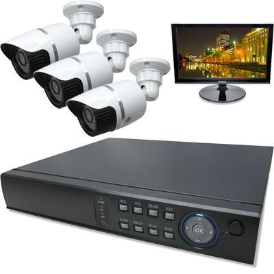 ブロードウォッチ 屋外型赤外線100万画素カメラ3台16インチモニタ付録画機セット SEC-MS-3A-C36V-16R