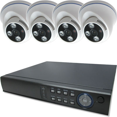 ブロードウォッチ 屋内天井型赤外線500万画素カメラ4台録画機セット SEC-MS-4A-F36G