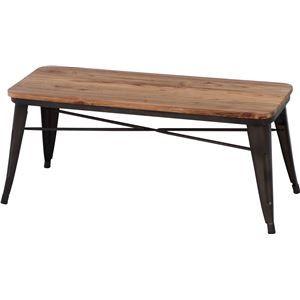 その他 北欧調 ベンチ/スチールベンチ 【ブラウン×ナチュラル】 幅111cm スチール 木製 〔什器 カフェ〕【代引不可】 ds-1951330