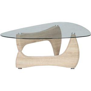 その他 ガラス製センターテーブル/ローテーブル 【ホワイトオーク】 幅100cm 強化ガラス製天板 『ルーク』 ds-1951417
