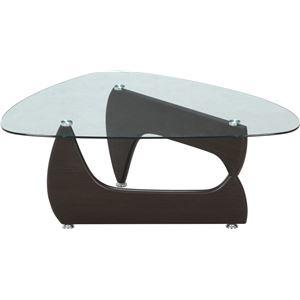 その他 ガラス製センターテーブル/ローテーブル 【ウォルナット】 幅100cm 強化ガラス製天板 『ルーク』【代引不可】 ds-1951418