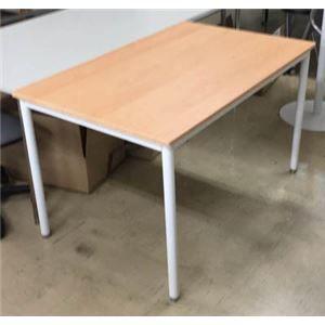その他 多目的 ミーティングテーブル/会議テーブル 【幅135cm ナチュラル】 スチールフレーム ds-1951538