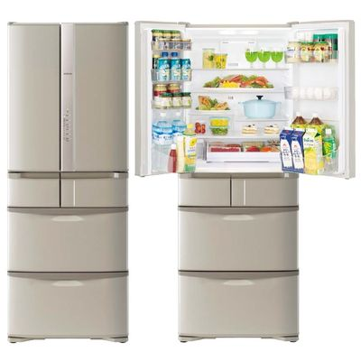 日立 475L 「うるおいチルド」搭載 フレンチ6ドアタイプ冷蔵庫(ソフトブラウン) R-F48HG-T