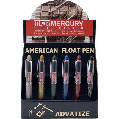 MERCURY ロゴフローティング ボールペン ボックス(24本セット) ブラック×バーガンディ×グリーン×グレー×マスタード×ネイビー EE-05920
