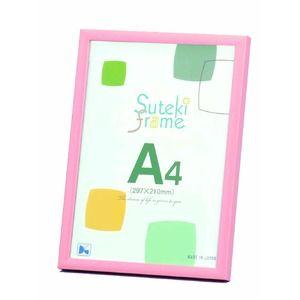その他 【A4フレーム】OA額スタンド付き ■ポップカラーフレーム A4(297×210mm)ピンク【10枚セット】 ds-1937999