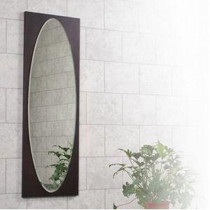 その他 オーバル型ウォールミラー/壁掛け鏡 【WE】 幅43cm×奥行2.5cm×高さ125cm 飛散防止加工【代引不可】 ds-2019565
