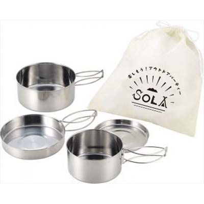SOLA(ソラ) 【24個セット】PP-01 SOLA(ソラ)キャンピング鍋4点セット 4972940793587【納期目安:1週間】