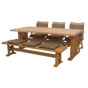 その他 【単品】和風ダイニングテーブル/リビングテーブル 【長方形 幅190cm】 木製 ブラッシング加工  ナチュラル【代引不可】 ds-1748455