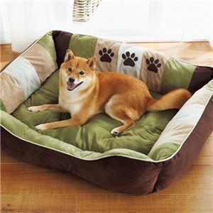 その他 ふかふかペットベッド2(ペット用ベッド・寝床・洗える)(犬用・猫用・犬猫用・ドッグ・キャット) 【3L】 グリーン ds-2036563