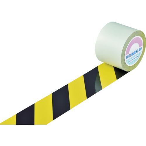 トラスコ中山 緑十字 ガードテープ(ラインテープ) 黄/黒(トラ柄) 100mm幅×20m 148162