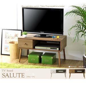 その他 コンパクト テレビ台/テレビボード 【ブラウン】 幅80cm 32型対応 引き出し付き 木目調 『SALUTE』 ds-2035213