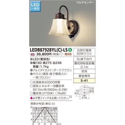 東芝 LEDアウトドアブラケット LEDB87928YL(C)-LS