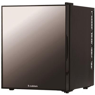 エスキュービズム 1ドア冷蔵庫 32L ミラーガラス ブラック WRH-M132