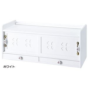 その他 キッチンカウンター上収納庫/キッチン収納 【ホワイト 幅80cm】 木製 引き出し 天板 取っ手付き ds-2055991