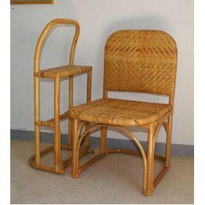 その他 籐チェア&おつかまり楽々セット 立ち座り補助 膝楽 【代引不可】 ds-2057453