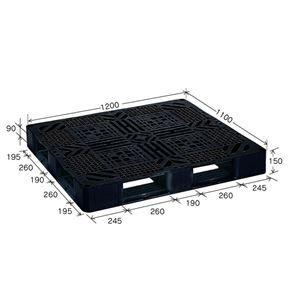 その他 ブラックパレット/樹脂パレット 【J-D4・1211】 メッシュ構造 再生材利用【代引不可】 ds-2041891