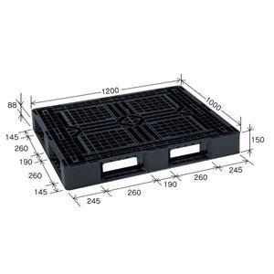 その他 樹脂パレット/軽量パレット 【JL-D4・1210G】 ブラック 材質:再生PP 安全設計【代引不可】 ds-2041897
