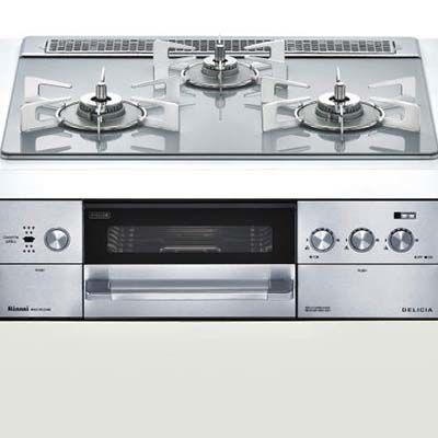 リンナイ 『DELICIA(デリシア)』 ビルトインコンロ 3V乾電池 コンロ + オーブン設置 (幅 60cm)【ココットプレート&ダッチオーブン付属】(アローズホワイト)(都市ガス用12A・13A) RHS31W22E4R2D-STW-13A