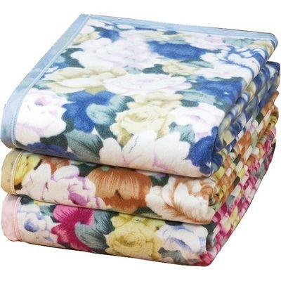 ファミリー・ライフ 100%ウォッシャブル綿毛布 シングル 3色組 ブルー・ピンク・ベージュ 1セット 4523556074142【納期目安:2週間】