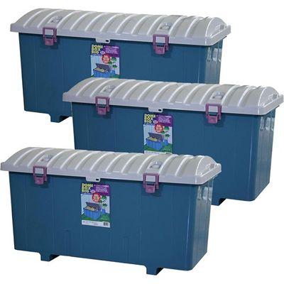 平和工業 収納ボックス ドームボックス ビッグ 日本製 ブルー 160L 3コ組 4907556227829【納期目安:2週間】