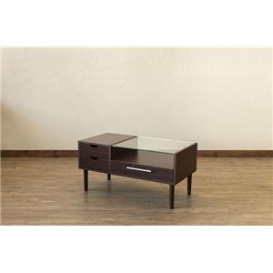 その他 テーブル型 ドレッサー/化粧台 【ダークブラウン】 幅80cm 木製 ガラス天板 引き出し3杯 1面鏡 脚付き 『Altona』 〔リビング〕 ds-2078890
