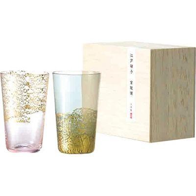 東洋佐々木ガラス 冷酒杯揃え 江戸硝子 金玻璃 天空・桜、大地・墨色 2コセット 4906678187776【納期目安:2週間】
