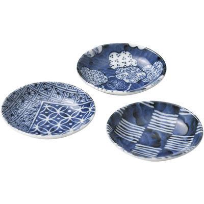 その他 【60個セット】美濃焼 藍小粋豆皿3枚組 MRTS-33176