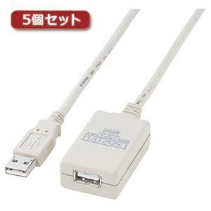 その他 5個セット サンワサプライ USB2.0リピーターケーブル(5m) KB-USB-R205X5 ds-2098040
