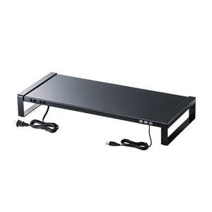 その他 サンワサプライ 電源タップ+USBハブ付き机上ラック(W600) MR-LC205BK ds-2103294