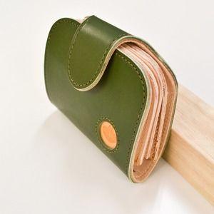 その他 Ritonモレッティレザー二つ折り財布/オリーブ(日本製)【代引不可】 ds-2094939