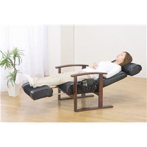 その他 リクライニングチェア/高座椅子 【ブラック】 肘付き ヘッド&フットレスト付き 座面・背面中央:メッシュ生地【代引不可】 ds-2094985
