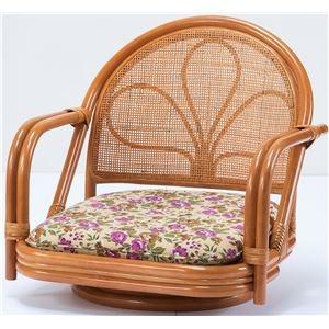 その他 天然籐 座椅子/回転チェア 【ロータイプ】 肘付き ボリュームクッション【代引不可】 ds-2094999
