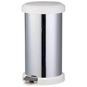 その他 においが漏れにくい ゴミ箱/ダストボックス 【ホワイト】 幅32cm 18L ステンレス 内蓋2重構造 〔キッチン 台所〕 ds-2110367