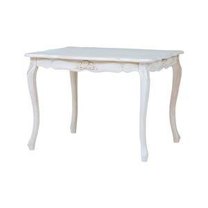 その他 アンティーク調 ダイニングテーブル 【幅100cm】 木製 ウレタン 『フレンチリボンデザイン猫脚家具』 〔リビング〕 ds-2110591