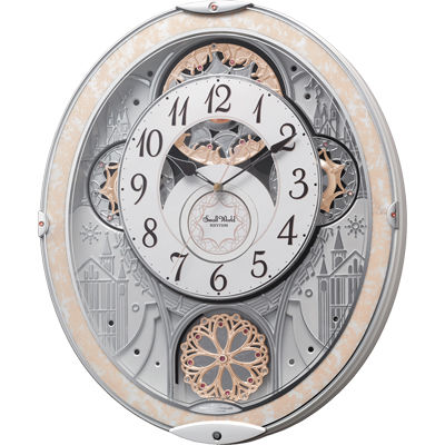 リズム時計 電波時計 掛け時計 からくり機能 48曲入り 連続秒針 スモールワールドノエルNS(白) 8MN407RH03