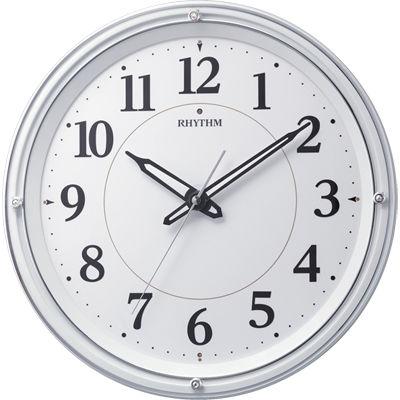 リズム時計 電波時計 掛け時計 暗所自動点灯ライト(電球色/白色) 連続秒針 直径33.2cm リバライト532(白) 8MY533SR03